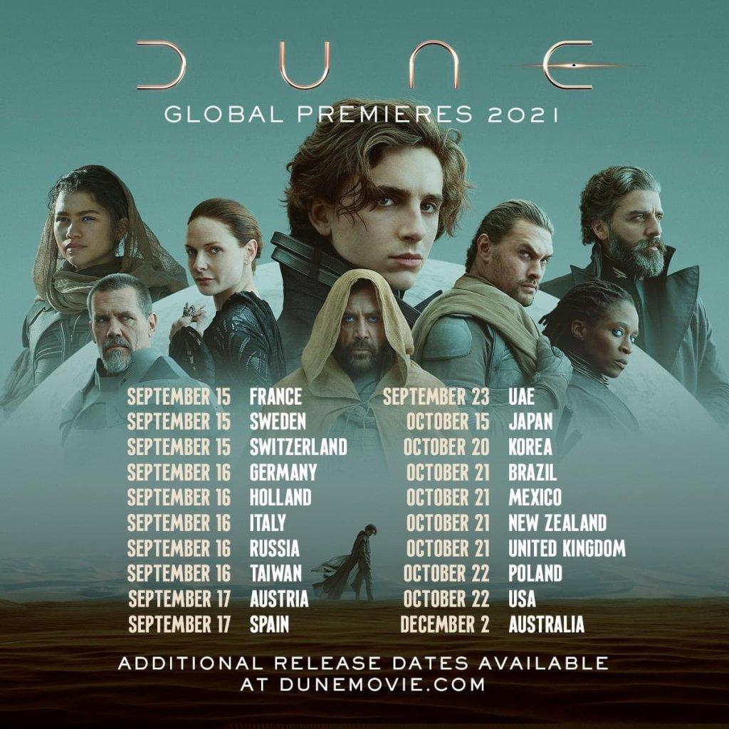Dune, Dune Premiere, Dune Premiere Dates